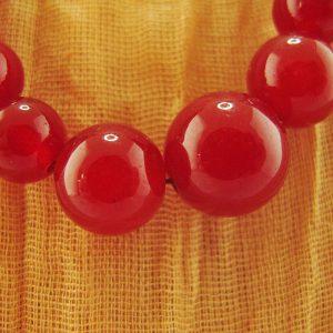 Red-Dyed Quartz Necklace