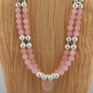 Rose Quartz and Glass Pearl Necklace