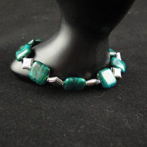 Azurite/Chrysocolla Squares Bracelet