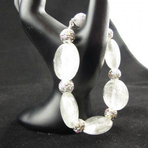White Foil Glass Lampwork Bracelet