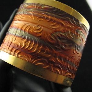 Brass Cuff Covered in Copper Ripple Pattern – 5 cm