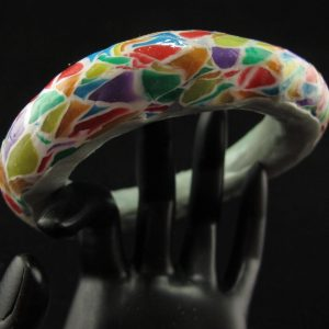 Colourful Transparent Mosaic Bangle Large