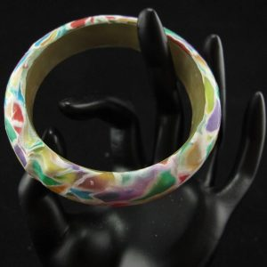 Colourful Transparent Mosaic Bangle – Small