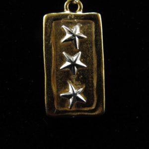 Resined Stars on 22K Gold Plate Rectangular Bezel