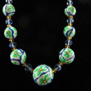 Green & Blue Graduated Millefiori Beads
