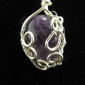 Wire Wrapped Amethyst Cabochon 18 x 25 mm