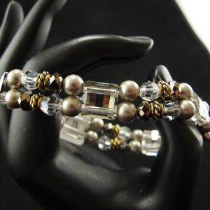 Swarovski Stretch Bracelet – 'Platinum with Gold Spacer'