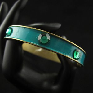 Green Bangle Studded with Green Swarovski Crystals
