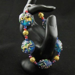 Handmade Glass Lampwork with Gold, Red & Blue Spacers