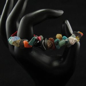Mixed Gemstones 2 Chips Stretch Bracelet