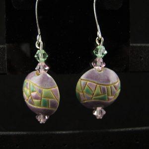 Glazed Ceramic Lentil & Swarovski Beads  – Small