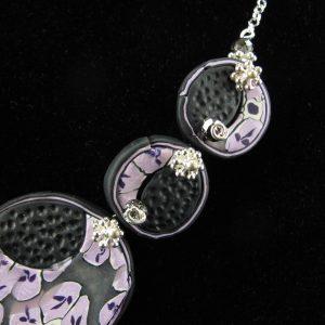 Purple & Black Millefiori Disc Necklace