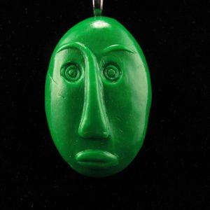 Medium Tribal Mask in Faux Jade