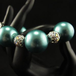 Oversized Teal Glass Pearls Bracelet