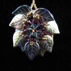 Blue AB 'Leaf' Pendant