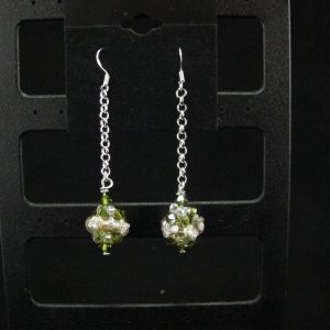 Green and Gold Swarovski Bauble Earring