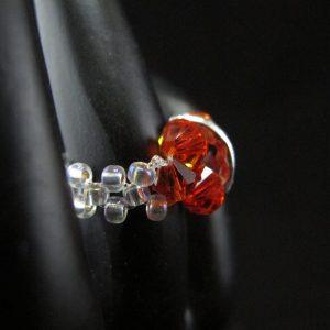 Orangey Red Swarovski Half Rondelle Ring