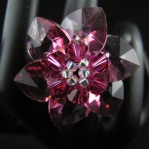 Clear Pink Swarovski Crystal Flower Ring
