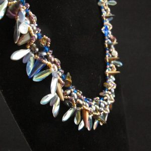 'Blue' Spike Necklace with Freshwater Pearls