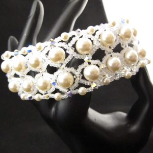 Netted Swarovski Pearl and Crystal Bracelet