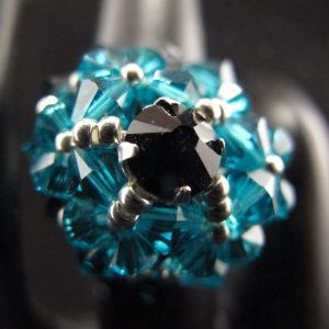Swarovski Blue Zircon Dome Ring
