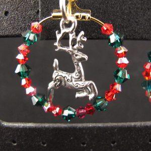 Christmas Swarovski & Deer Hoop Earrings