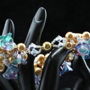 Gold Pearl & Flower Bracelet