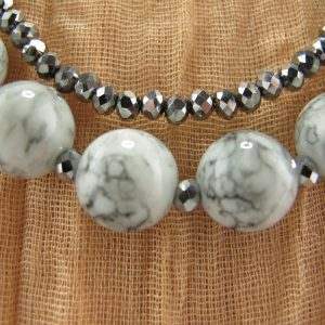 Marbled glass & Silver Bead Necklace