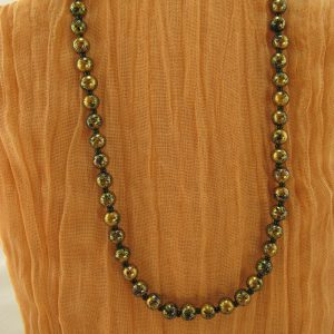 Gold Painted Glass Bead Necklace