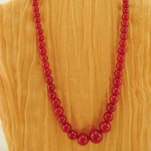 Red-Dyed Quartz Necklace