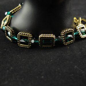 'Emerald' Swarovski Crystals in Bead Frames Bracelet