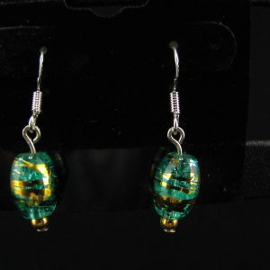 Handmade Lamwork Glass in Green & Gold
