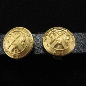 Gold Crest Button Earring
