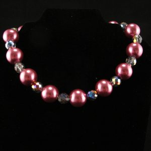 Oversized Bright Pink Glass Pearl Necklace