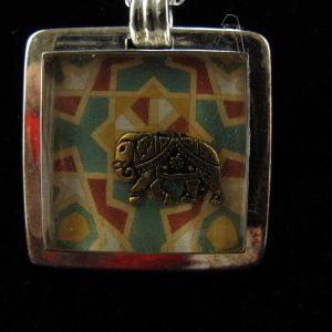 Elephant in Silver Plate Square Bezel