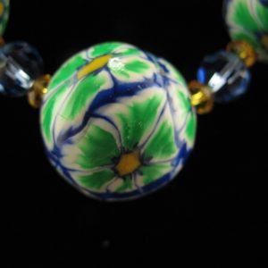 Green & Blue Graduated Millefiori Beads