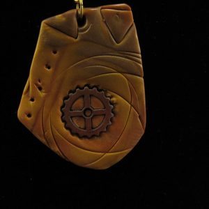 Steampunk Design in muted Oranges and Gold-Polymer Clay