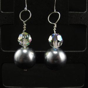 Oversized Silver Glass Pearls with Swarovski Spacer Earrings