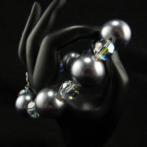 Oversized Silver Glass Pearls with Swarovski Spacer Bracelet