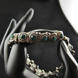 Dark Green Crystals set into Antique Metal