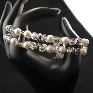 Swarovski Stretch Bracelet – 'White with Silver Spacer'
