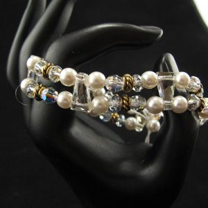 Swarovski Stretch Bracelet – 'White with Gold Spacer'