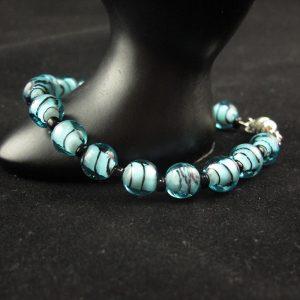 Aqua Lampwork Glass Beads