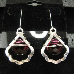 Wire Wrapped Swarovski 'Ruby' Briolette