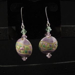 Glazed Ceramic Lentil & Swarovski Beads  – Small