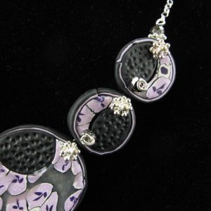 Purple & Black Millefiori Disc Necklace
