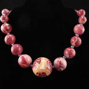 Millefiori and Marbled Beads Necklace