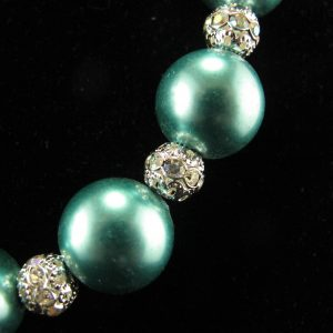 Oversized Teal Glass Pearls Necklace