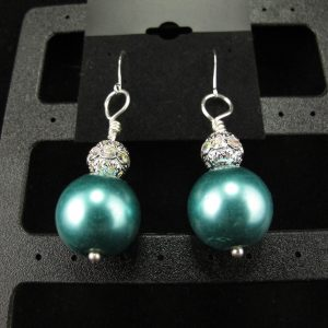Teal Oversized Glass Pearl Earrings