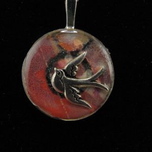 Sunset Swallow Resin Pendant